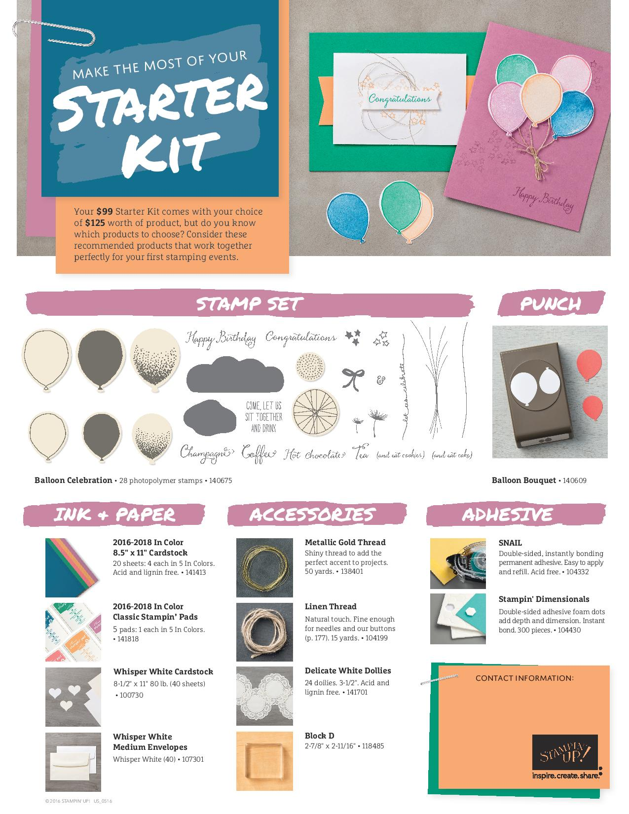 Stampin' Up! Starter kit suggestions