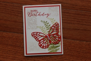 Stampin' Up butterfly basics, real red, happy birthday