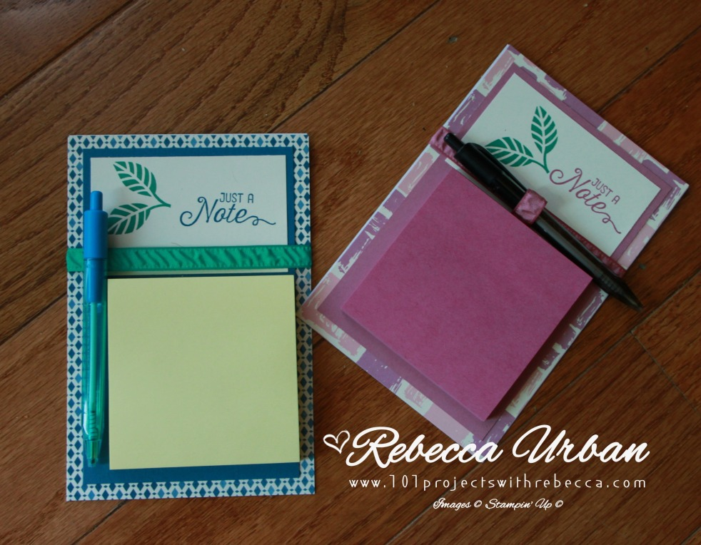 Stampin' Up! post it note holder. Sweet Sugarplum, Dapper Denim, Emerald Envy. Stampin' Up! Moroccan and Pop of Pink